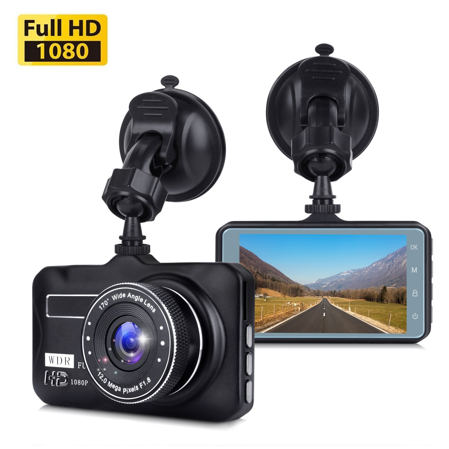 Dash Cam, Dashboard Camera with Full HD 1080P, Car DVR Driving Recorder with WDR, 170 Degree Wide Angle, 3'' LCD, Loop Recording, G-Sensor, Night Vision