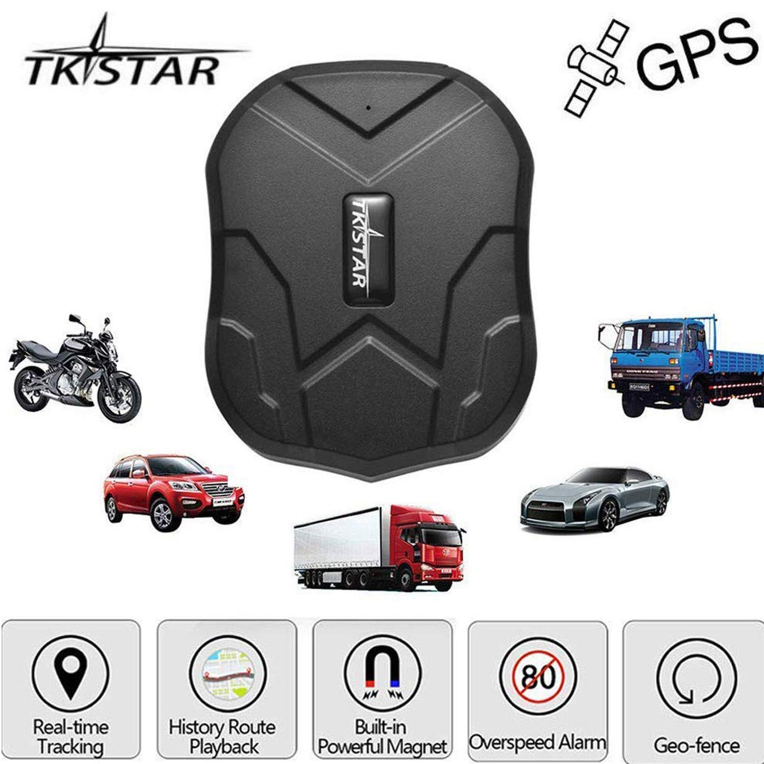 TKSTAR Hidden Vehicles GPS Tracker, Waterproof Real Time Vehicle GPS Tracker Anti Theft Alarm Car Tracking Device Strong Magnet For Motorcycle Trucks Support Android and IOS TK905 by TK-STAR