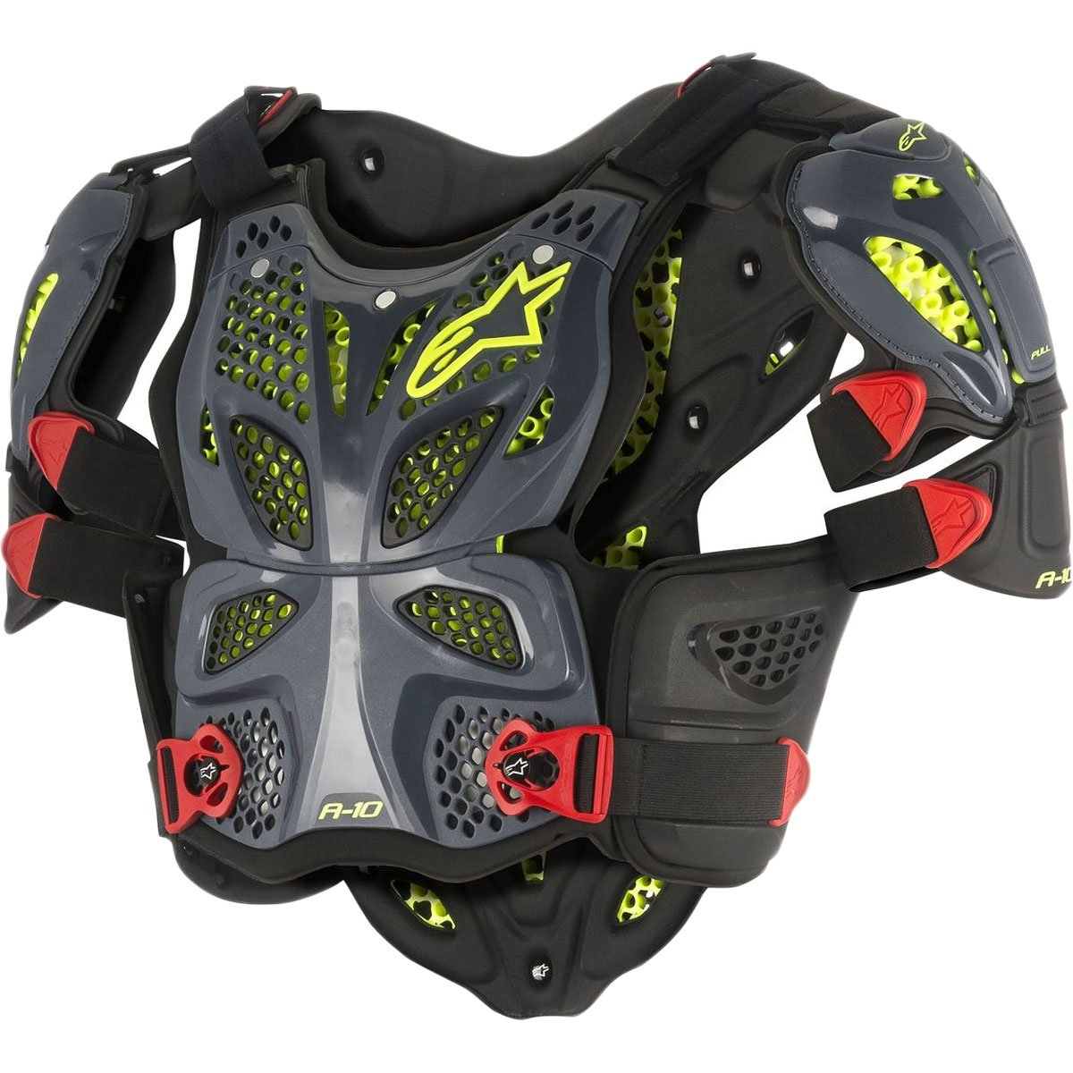 Alpinestars A-10 Full Chest Protector-Anthracite/Black/Red-XL/2XL by Alpinestars