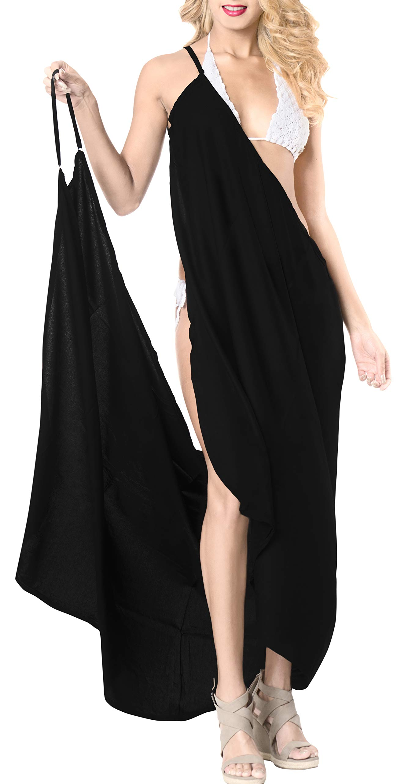 LA LEELA Rayon Women's Swimsuit Cover Up Tie Sarong Solid 70''X34'' Black_7179