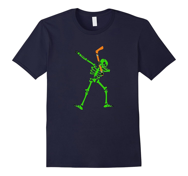 Dabbing Skeleton Hockey Halloween Tshirt-FL