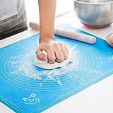 クッキングマット シリコンマット 40×50㎝ 大きいサイズ 製菓マット パンマット 目盛り付きマット 食品級シリコーン 滑り止め 調理 製菓道具 (ブルー、40x50cm)