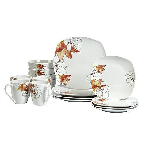Amazon.com | Lily Square White Porcelain 16 Piece Dinnerware Set ...