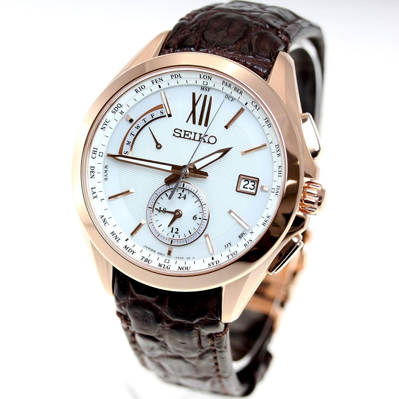 [ブライツ]BRIGHTZ 腕時計 BRIGHTZ ソーラー電波 デュアルタイム チタンモデル ブラウン革バンド SAGA252 メンズ B076PHRL8H