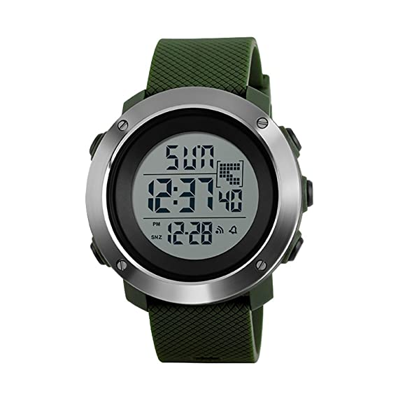 Image Unavailable. Image not available for. Color  Men s Fashion Sport  Digital Watches Dual Time Countdown Stopwatch Military Waterproof Watch -Green e7c2d47fcc