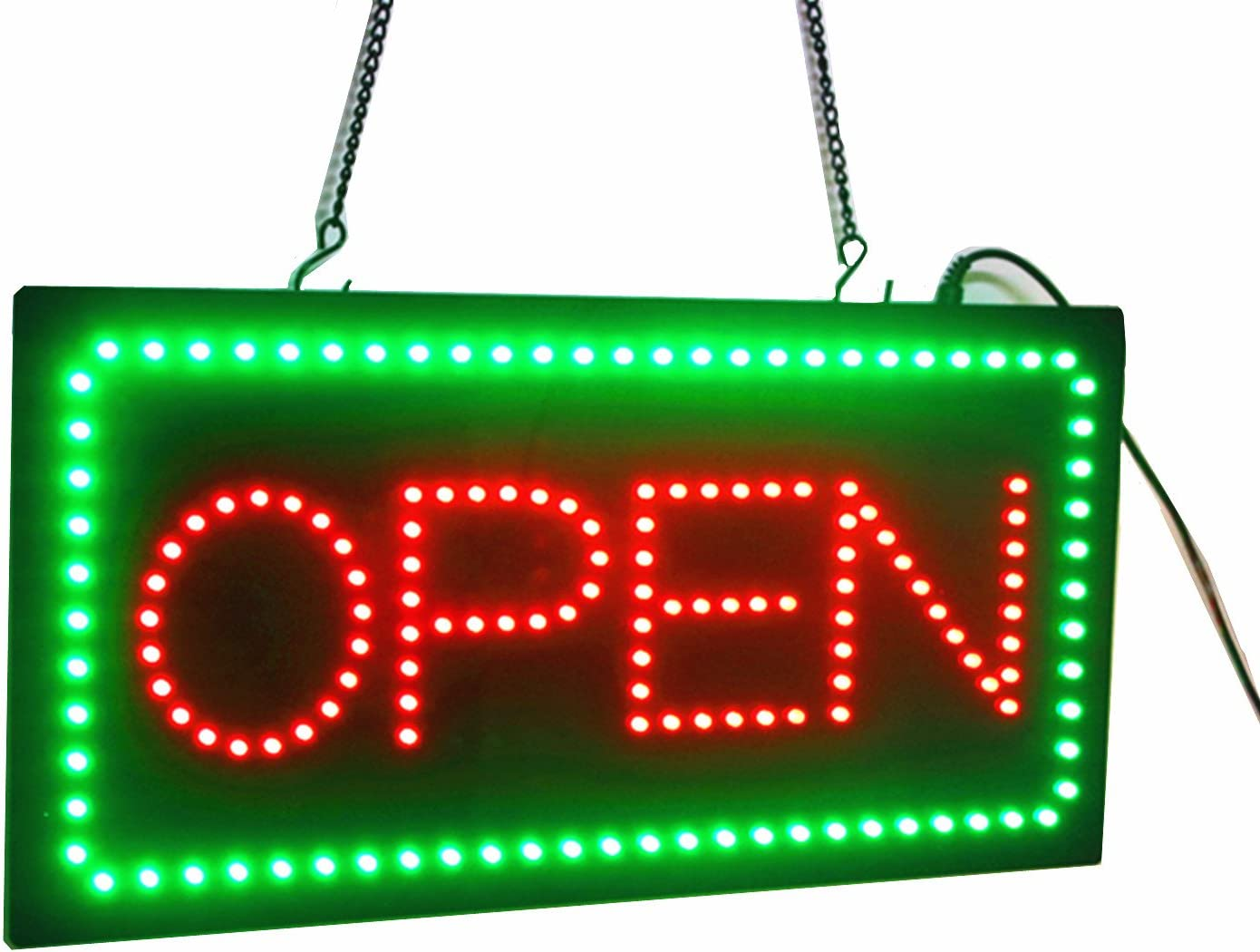 Large Rectangle Advertising Board Electric Lighted Open Sign for Business Display Light Cafe Shop Bar Store Restaurant Display 21x10 LED Sign Display
