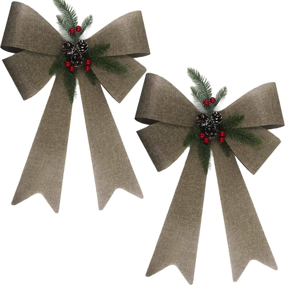 Happy Holidays 21 inch Jumbo Christmas Decoration Bow Premium - Burlap Bow with Greenery & Pinecones - Great for Indoor, Outdoor, Tree, Decor, Crafts, Wrapping, Wreath (Set of 2)