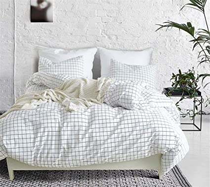 Amazoncom Damier Black And White Checkered Duvet Cover Queen Size