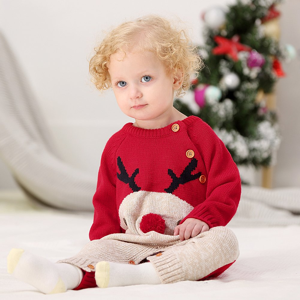 mimixiong Baby Knitted Jumpsuits Toddler Red Reindeer Pattern Sweater Outfits for Christmas