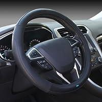 Nikavi NKVSCBB Microfiber Leather Car Steering Wheel Cover (Black)