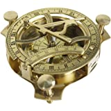 "INDIA OVERSEAS TRADING CORP 4.5"" Sundial Compass With Teak Wood Box Inlaid With Solid Brass"
