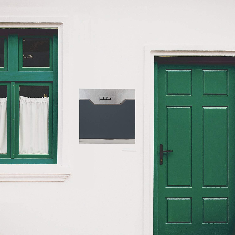 Wandbriefk/ästen G LARS360 Briefkasten Anthrazit Postkasten Mailbox Zeitung Wandbriefkasten Edelstahl Pulverbeschichtet Post Briefkastenanlage Letterbox Mit 2 Schl/üssel Zeitungsrolle Neu Design