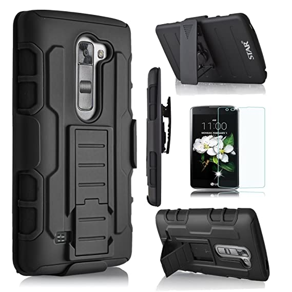 new product acd83 20cf5 LG K7 Case, LG Tribute 5 Case, LG Escape 3 Case, LG K8 Case, Starshop [Dual  Layers] with Kickstand and [Premium Screen Protector] With Locking Belt ...