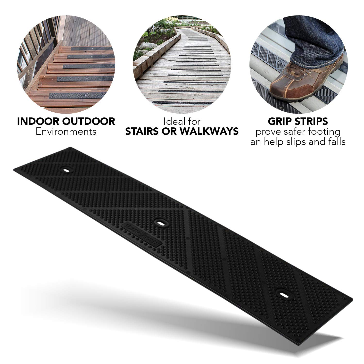 CGS Ltd GripStrip Max Treads Non Slip Traction Weather Stair 15 X 3.25 8 Pack Grey