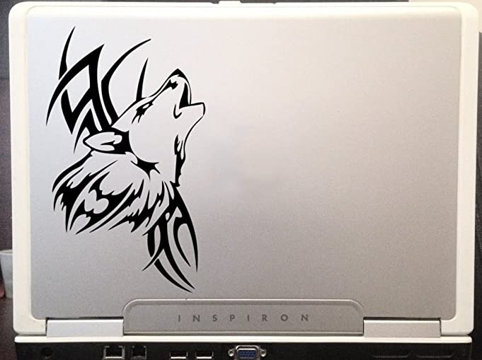 Tribal Wolf Tatoo Design Car Truck Laptop SUV Window Wall Macbook Notebook Laptop Decal Sticker 6 Inches Black