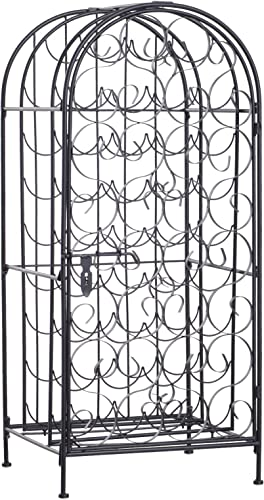 HOMCOM 35 Bottle Wrought Iron Wine Rack Jail