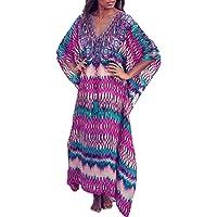 YouKD Summer Long Caftan Bohemian Beach Bikini Cover Up Dress Plus Size Kimono for Women