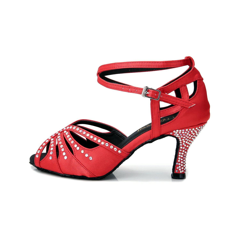 TTdancewear Women Rhinestone Ballroom Dance Shoes Latin Salsa Performance Dance Shoes B07CTVFFS3 5.5 B(M) US|Red-3inch Heels