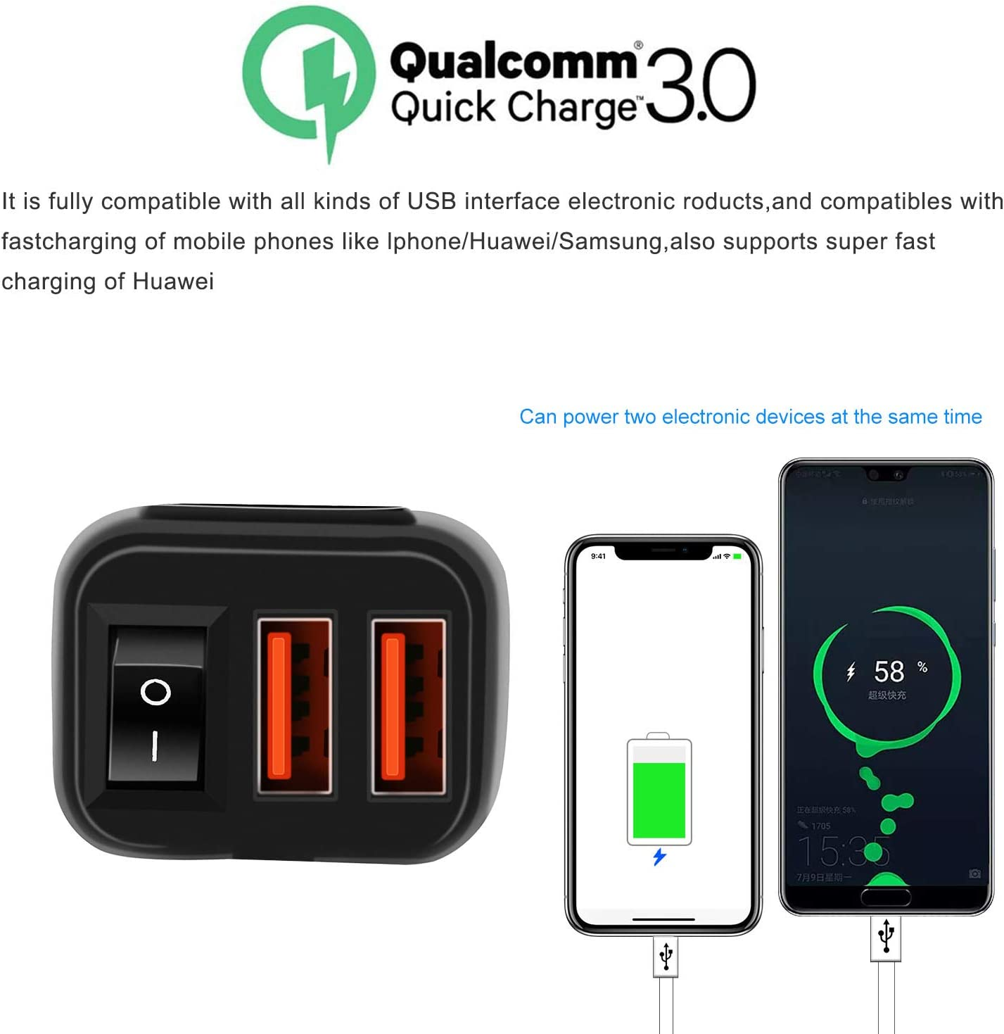 Dual USB Super Fast Charger,Auto Splitter Fast Charging for Smart Phone Tablet GPS Compatible with iPhone /& Android Motorcycle Charger SAE to USB Car Charger Adapter with Voltmeter Red Light