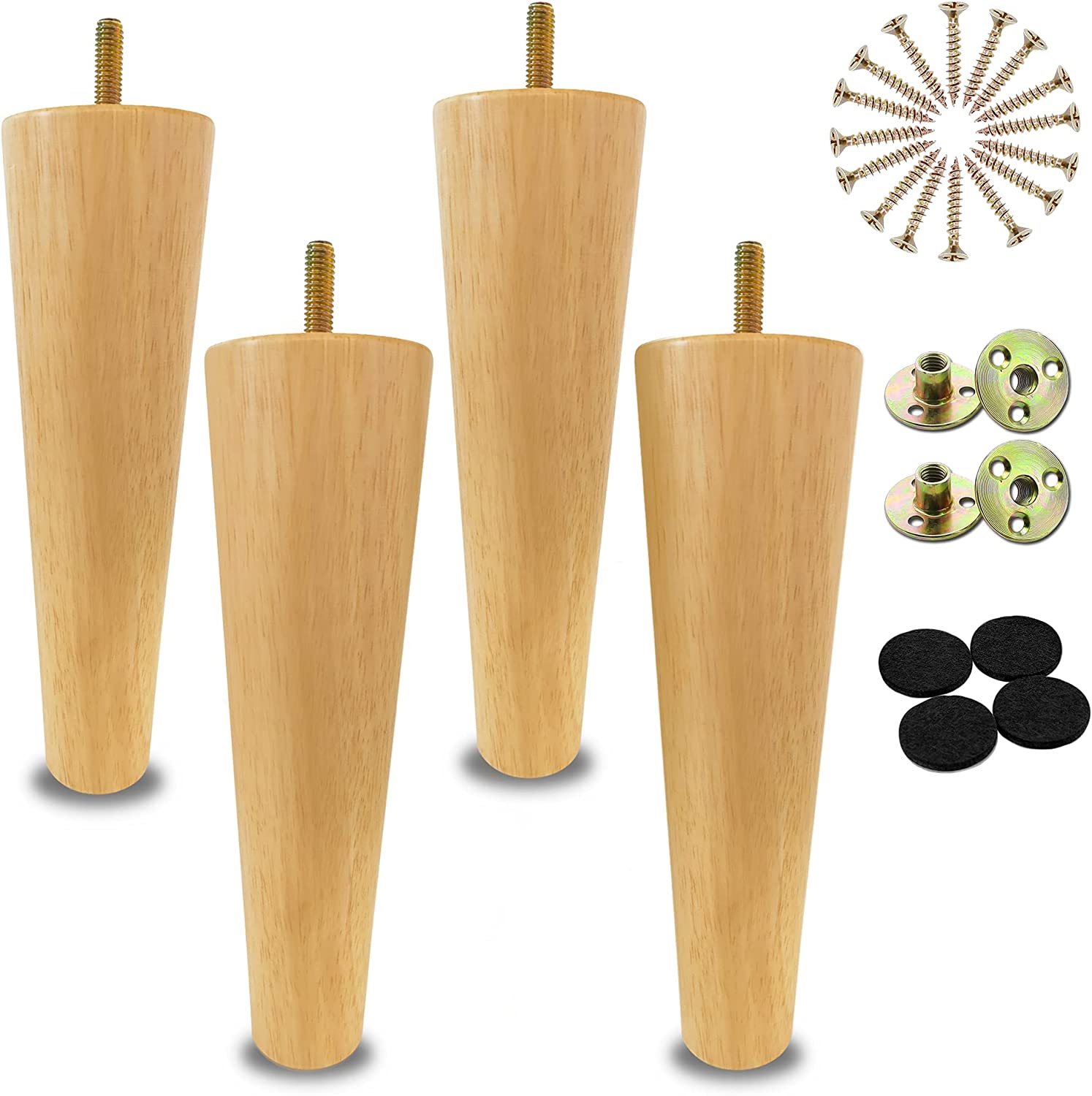 LIANGYUN 8 inch Wooden Legs for Furniture Set of 4 Replacement Legs Perfect for Mid-Century Style Sofa Couch Coffee Table TV Stand DIY Project. Accessories Included