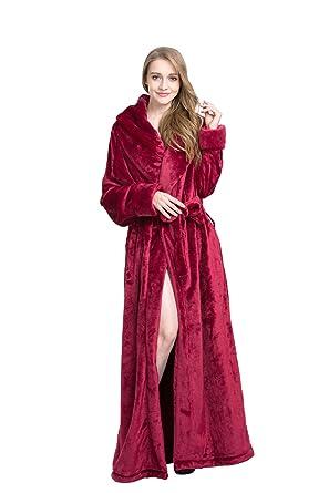 96ad2d4f901 Timormode Luxe Tissu Eponge Peignoir de Bain Chaud Robe de Chambre Femme  Homme Hiver 10010DarkRed-