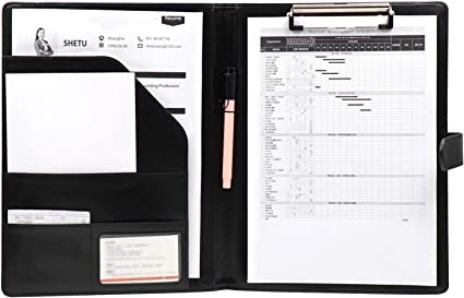 OFFIDIX PU Portafolios de cuero Carpeta Portapapeles Carpeta A4 Portafolios Trabajo Escritura plegable Carpeta de conferencias Organizador de almacenamiento de documentos con bloc de notas (Negro): Amazon.es: Oficina y papelería