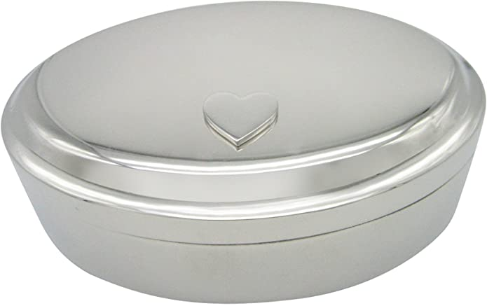 Silver Toned Heart Love Wedding Oval Trinket Jewelry Box