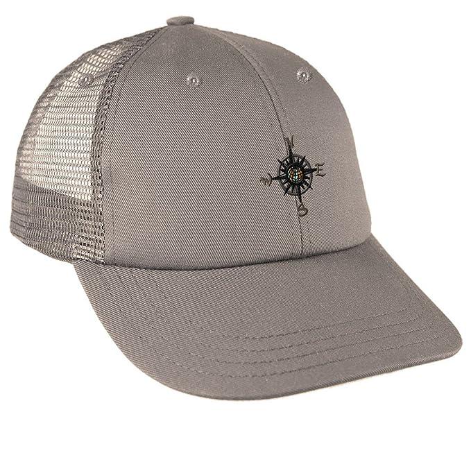 Amazon.com  Nautical Compass Embroidery Design Low Crown Mesh Golf ... cc9e42aa827