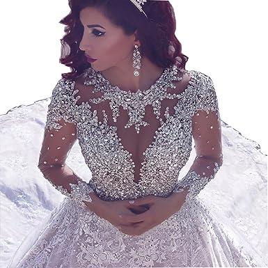 Tsbridal Luxury Crystals Lace Wedding Dress 2018 Long Sleeves ...