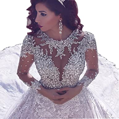 6256523f22b Tsbridal Luxury Crystals Lace Wedding Dresses Long Sleeves Wedding Gowns at  Amazon Women s Clothing store