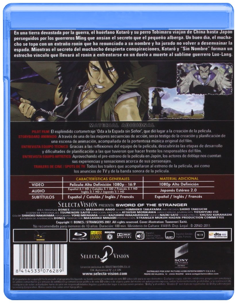 El samurái sin nombre Sword of the Stranger Combo DVD + BR ...