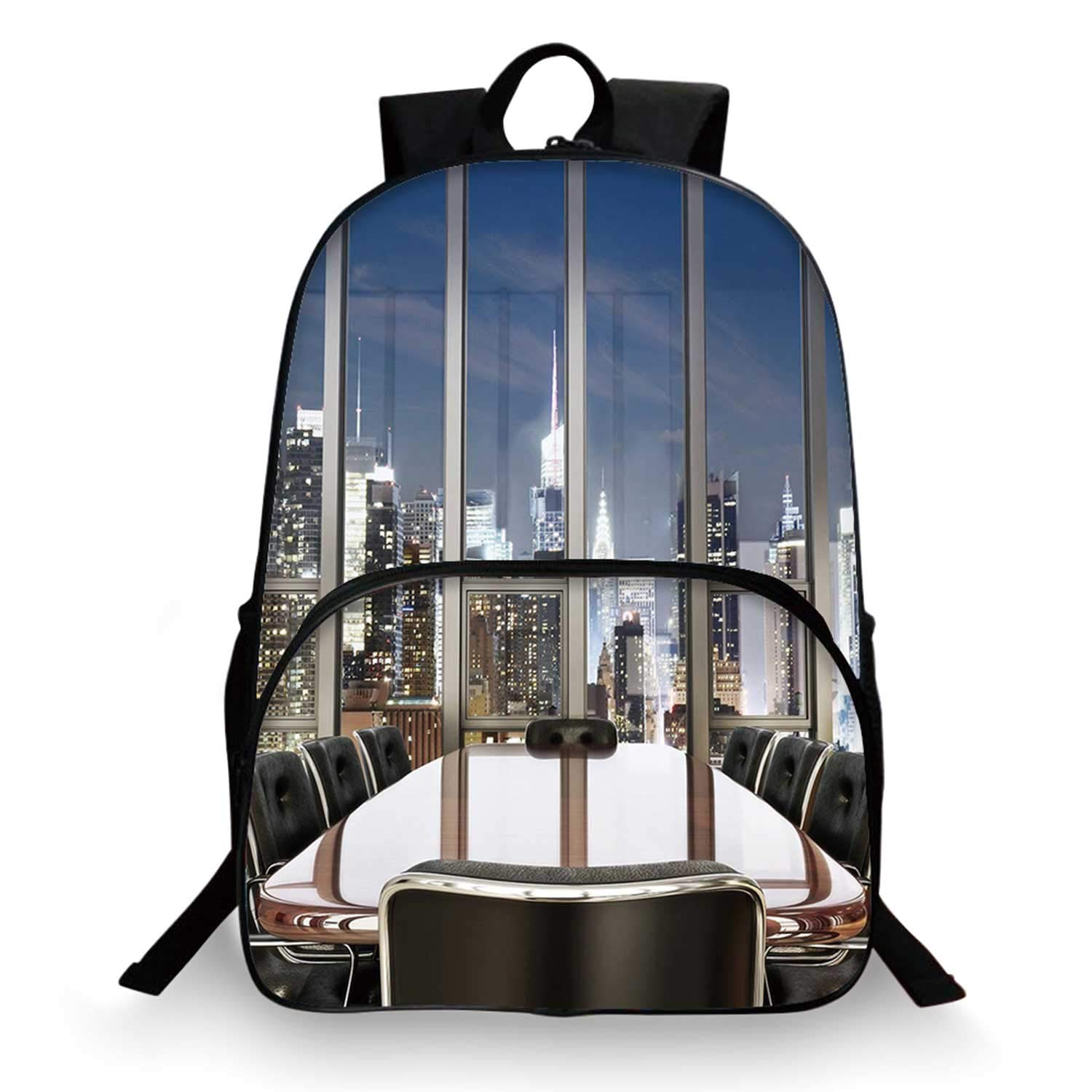 Modern Decor Various Schoolbag,Business Office Conference Room Table Chairs City View at Dusk Realistic for student,11''Lx6''Wx15''H by C COABALLA