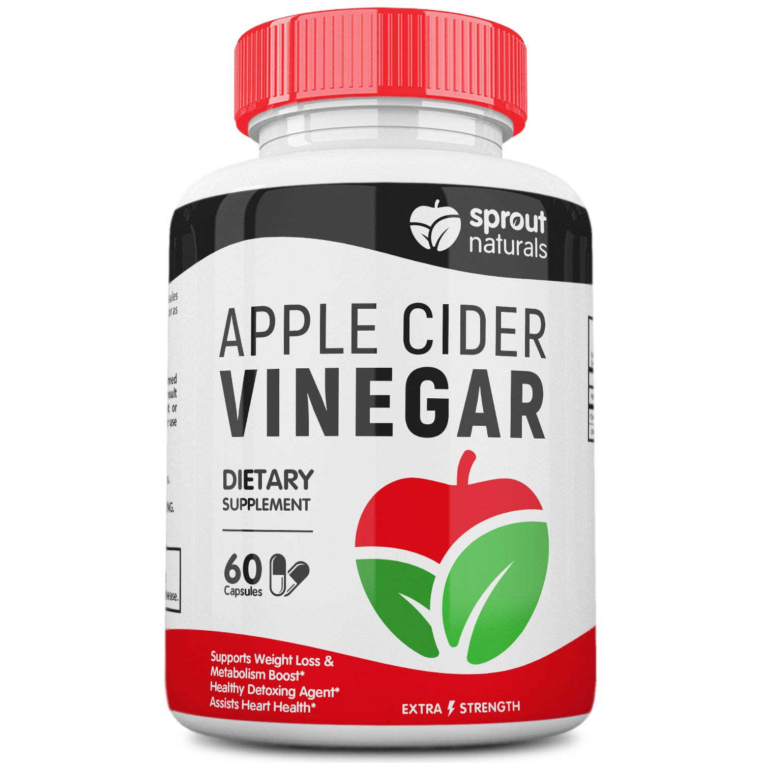Extra Strength Apple Cider Vinegar Capsules (1300mg) - Potent Detoxifier, Weight Loss, and Metabolism Booster* - Potent 1300mg dose of Pure Apple Cider Vinegar - Manufactured in USA - 60 Capsules by Sprout Naturals