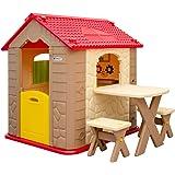 Casetta gioco per bambini e bambine + 1 tavolo + 2 sgabelli | in resistente plastica per interni ed esterni