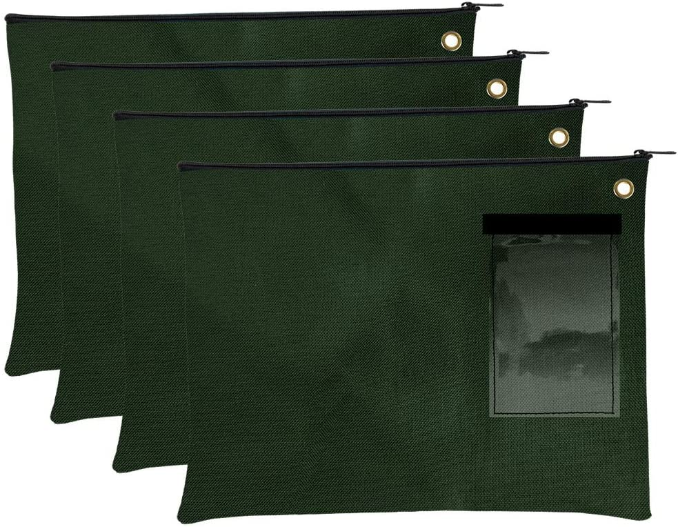 Large Transit Bags Forest Green Zipper Pouch Set of 4 Document Carrier