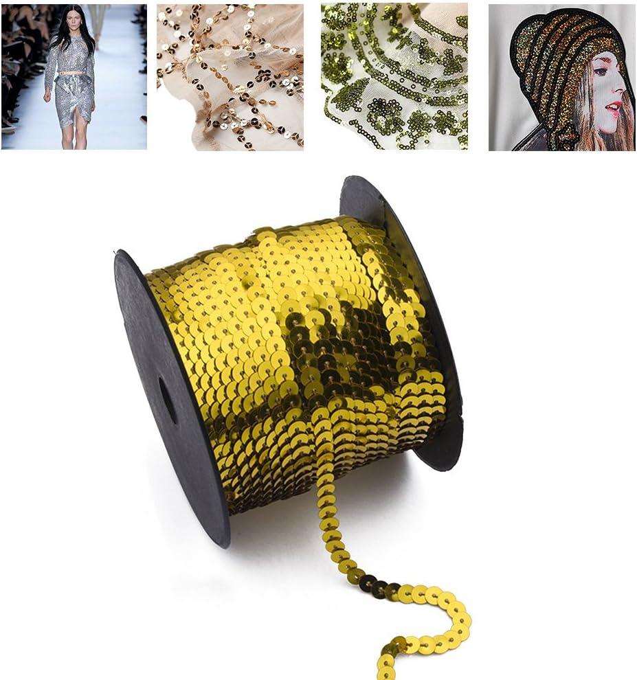 100 Yard Pailletten String 6mm dekoratives Zubeh/ör f/ür Stoffschuh Kunststoff Harz Pailletten Linie 1 Rolle Pailletten String Laser Golden