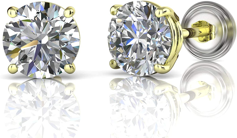 14k yellow rose and white gold petite diamond graine stud earrings minimalist earrings