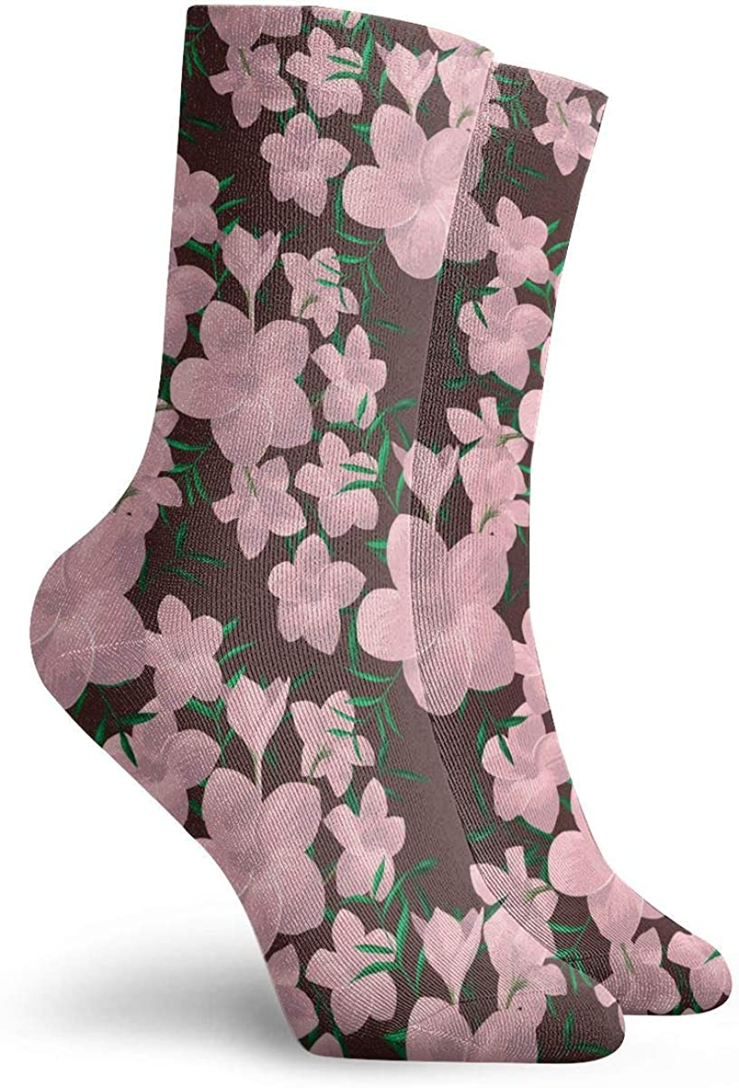 Mens Fashion Performance Polyester Socks Plumeria Image Casual Athletic Crew Socks.