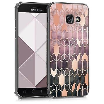 kwmobile Funda para Samsung Galaxy A3 (2017) - Carcasa de [TPU] para móvil y diseño de Rombos en [Rosa Fucsia/Oro Rosa]