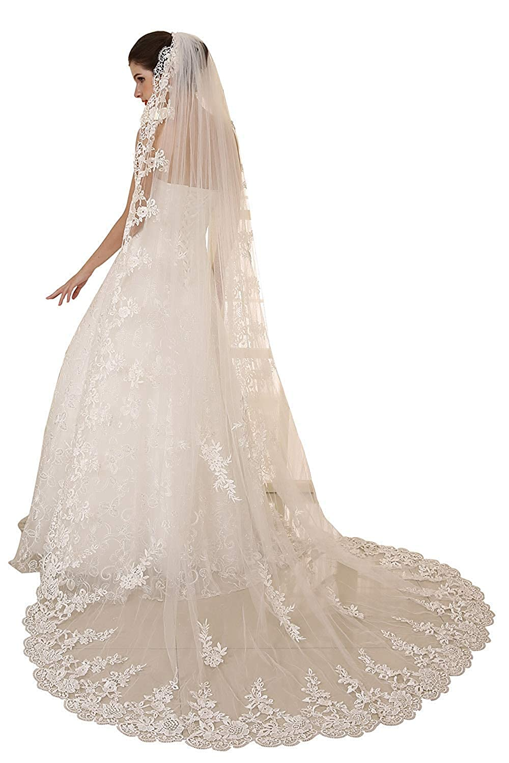 EllieHouse Womens Wedding Veils 1 Tier White Ivory 3M//4M//5M Lace Long Train Bridal Veil With Comb S114