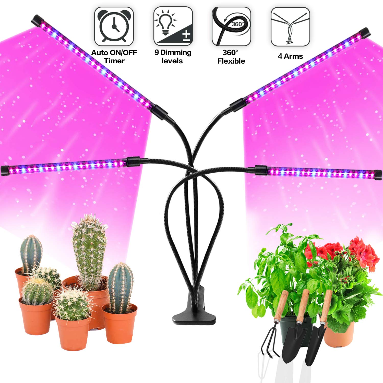 Grow Light Bulb Indoor Plant - Grow Light For Indoor Plants - Led Grow Light - Plant Lights With Clip - Growing Lamp For Plants Growth with Timer by KongKiss