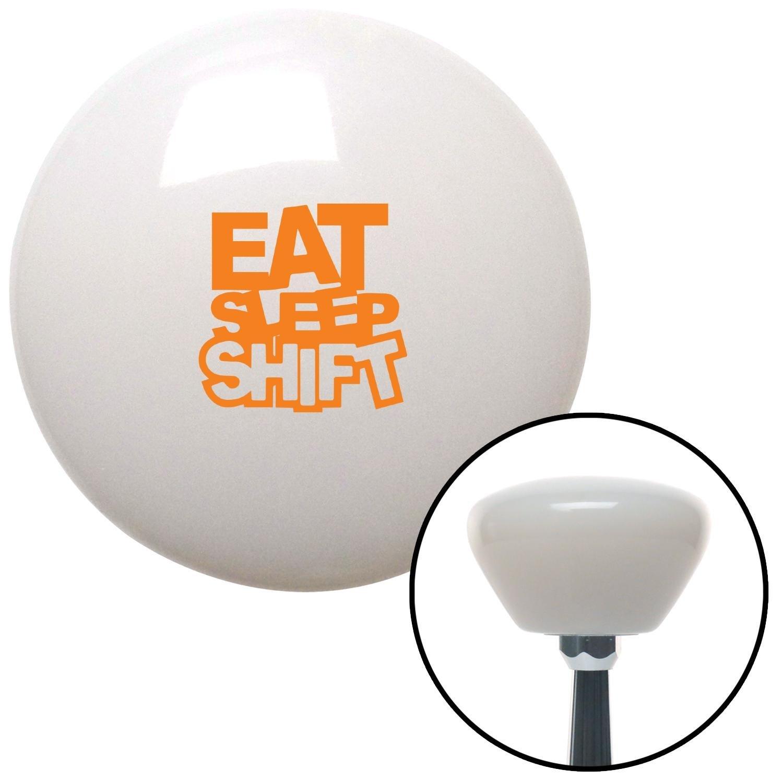 Orange Eat Sleep Shift White Retro with M16 x 1.5 Insert American Shifter 279930 Shift Knob