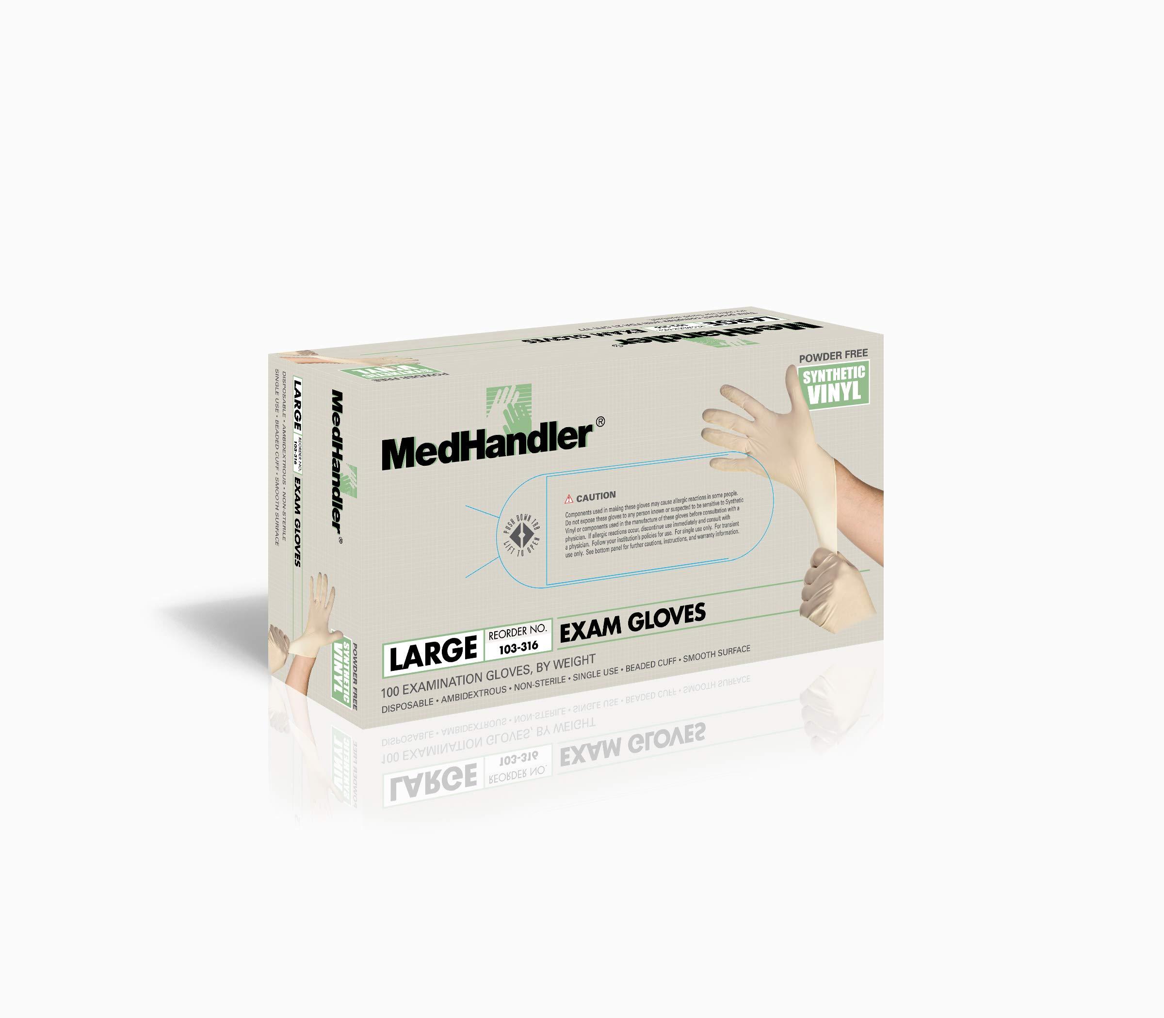 MedHandler 103-316 MedHandler Exam-Grade, Synthetic Vinyl, LG, Natural (Pack of 1000)
