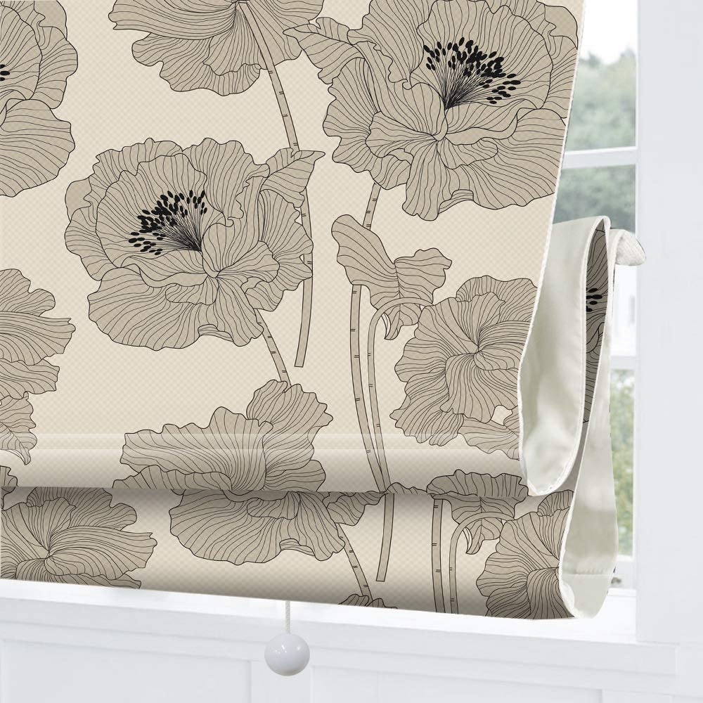 Cordless Roman Shades Window Blinds, Grey Floral Premium Blackout Roman Window Shades, Custom Washable Fabric Roman Shades for Windows, Doors, French Doors, Kitchen Windows (1 Piece)