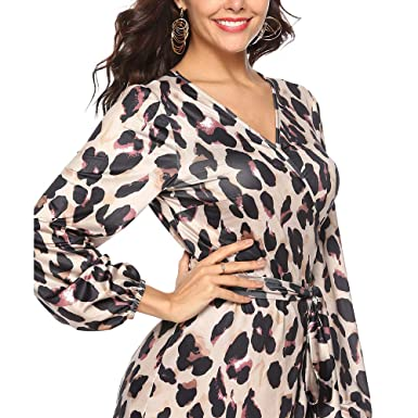 Women Empire Dress Party Mini Skirt Casual Sexy Fashion Leopard Print Comfy  Loose Frill Hem Shift 96b1c1800