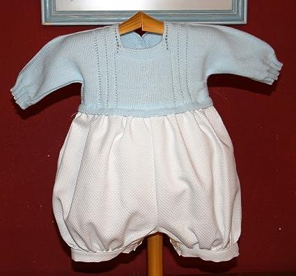 PRIMERAEDAD/Pelele bebé Manga Larga pantalón en Pique Blanco Cuerpo de Punto Celeste. (