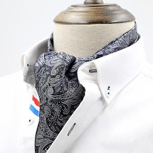 QIANGDA Escote Cravat Corbata Bufanda Masculino Seda Camisa ...