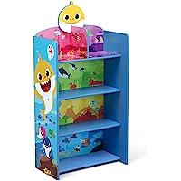 Delta Children Wooden Playhouse 4-Shelf Bookcase for Kids, Baby Shark