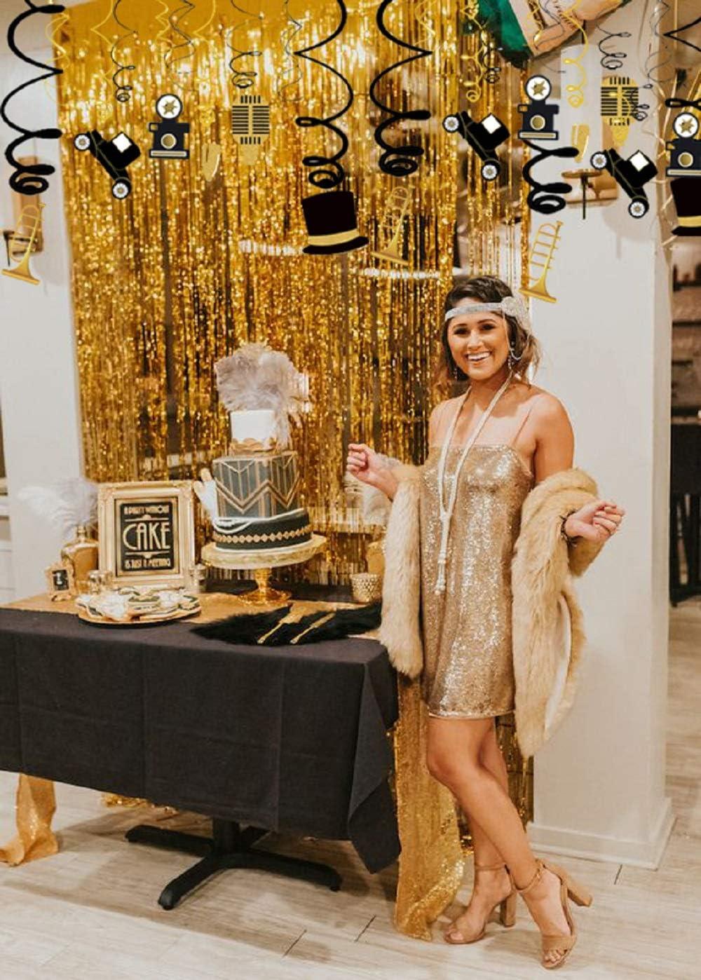 JeVenis Roaring 20s Swirl Banner Great Gatsby Birthday Decor 20th Birthday Party Decoration 20 Anniversary Decorations Roaring 20s Flapper Party Roaring Twenties Birthday Banner