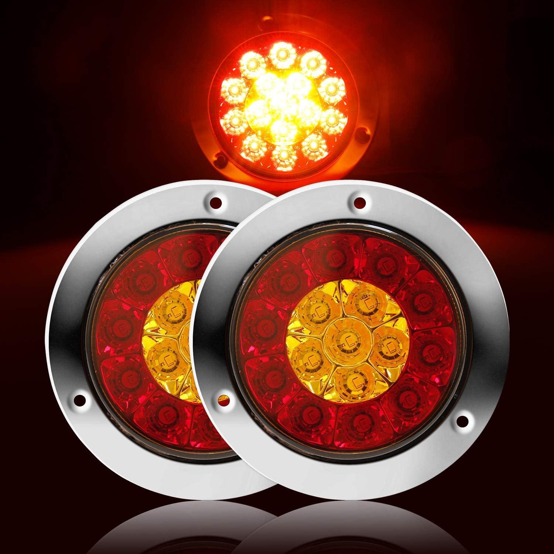 LITTOU Runde LED-Anh/änger R/ückleuchten 12V 16-LED Wasserdicht und Bremslicht Lampe mit Edelstahl Chrome Bezel f/ür LKW RV etc. 2 St/ück Rot+Wei/ß